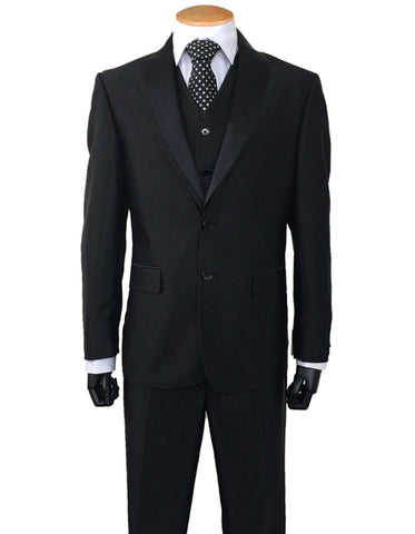 Mens 2 Button Sharkskin Tuxedo with Satin Shawl in Black