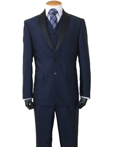 Mens 2 Button Sharkskin Tuxedo with Satin Shawl in Navy
