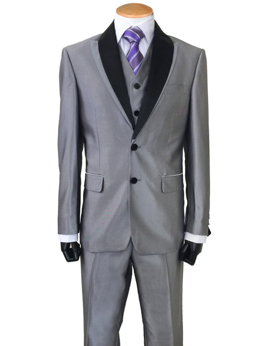 Mens 2 Button Sharkskin Tuxedo with Satin Shawl in Silver