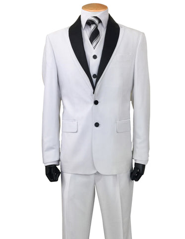 Mens 2 Button Sharkskin Tuxedo with Satin Shawl in White