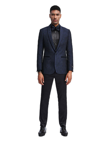 Mens Slim Fit Paisley Shawl Lapel Prom Dinner Jacket Tuxedo Blazer in Navy Blue
