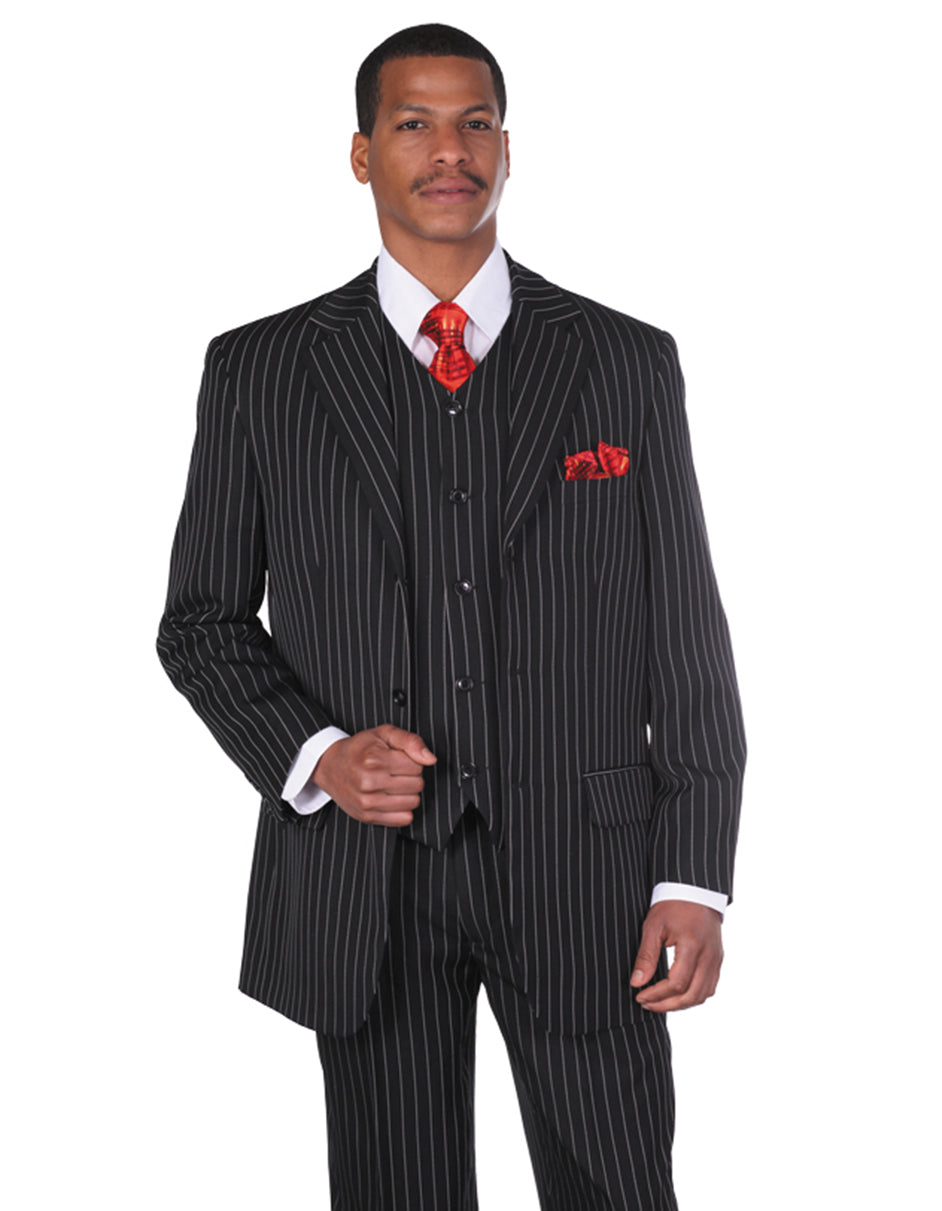 Mens 3 Button Notch Lapel Bold Pinstripe Gangster Suit in Black