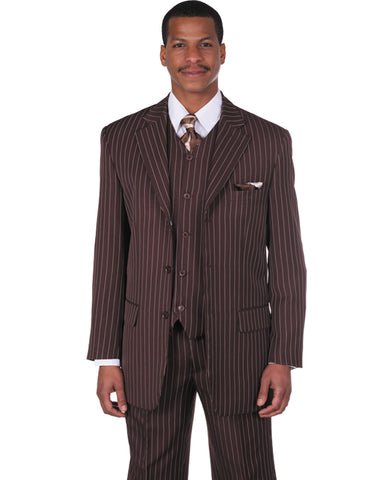 Mens 3 Button Notch Lapel Bold Pinstripe Gangster Suit in Brown
