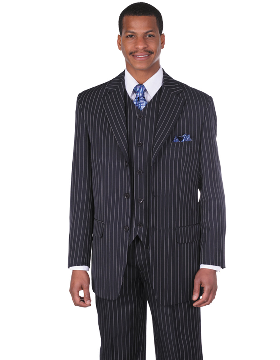 Mens 3 Button Notch Lapel Bold Pinstripe Gangster Suit in Navy Blue