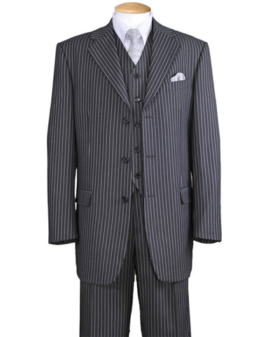 Mens 3 Button Notch Lapel Bold Pinstripe Gangster Suit in Grey