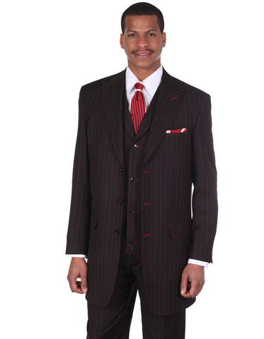 Mens 3 Button Peak Lapel Bold Pinstripe Gangster Suit in Black & Red