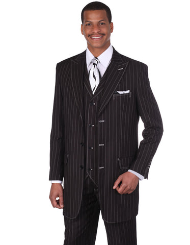 Mens 3 Button Peak Lapel Bold Pinstripe Gangster Suit in Black & White