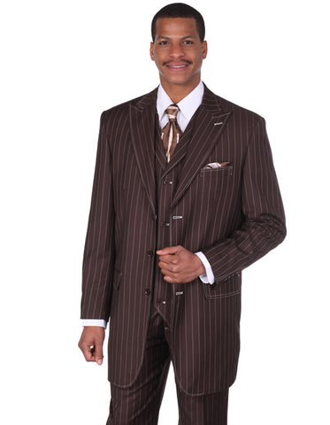 Mens 3 Button Peak Lapel Bold Pinstripe Gangster Suit in Brown