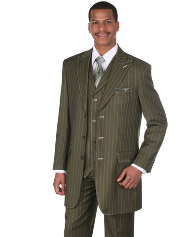 Mens 3 Button Peak Lapel Bold Pinstripe Gangster Suit in Olive