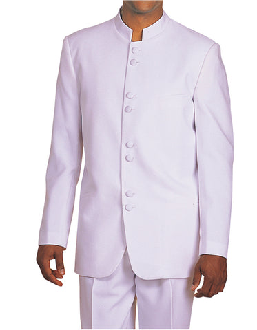 Mens Classic 8 Button Mandarin Tuxedo in White