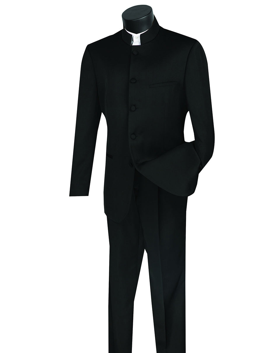 Mens 5 Button Mandarin Collar Tuxedo Suit in Black