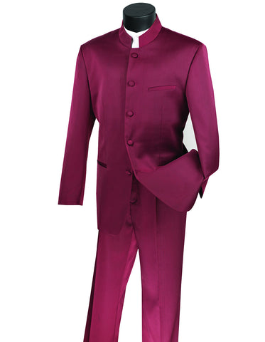 Copy of Mens 5 Button Mandarin Collar Tuxedo Suit in Burgundy