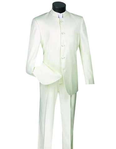 Mens 5 Button Mandarin Collar Tuxedo Suit in Ivory