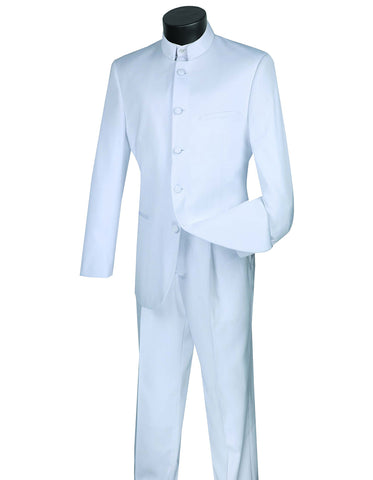 Mens 5 Button Mandarin Collar Tuxedo Suit in White