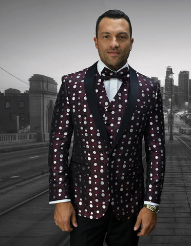 Mens Vested Polka Dot Tuxedo in Burgundy