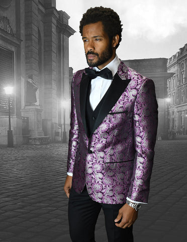 Mens Vested One Button Peak Lapel Shiny Floral Tuxedo in Fuschia