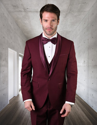 Mens Wool One Button Modern Fit Vested Shawl Tuxedo in Burgundy