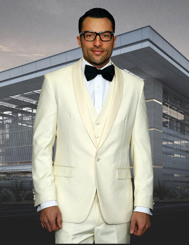 Mens Wool One Button Modern Fit Vested Shawl Tuxedo in Ivory