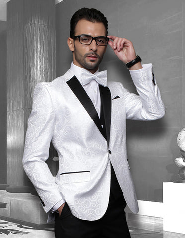 Mens Swirl Paisley Tuxedo in White & Black