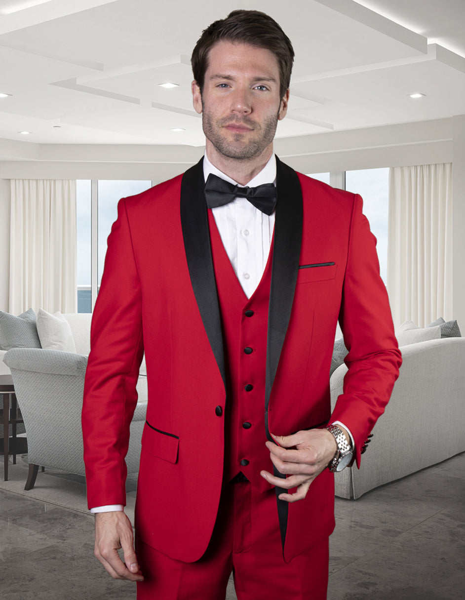 Mens Wool One Button Modern Fit Vested Shawl Prom Tuxedo in Red
