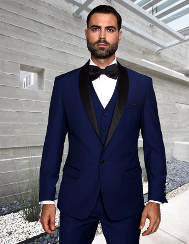 Mens Wool One Button Modern Fit Vested Shawl Prom Tuxedo in Sapphire Blue