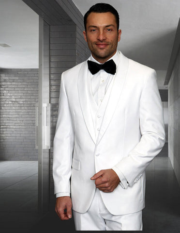 Mens Wool One Button Modern Fit Vested Shawl Tuxedo in White