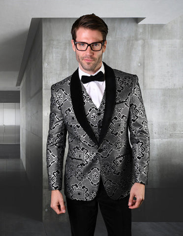 Mens Vested One Button Geometric Print Tuxedo in Black