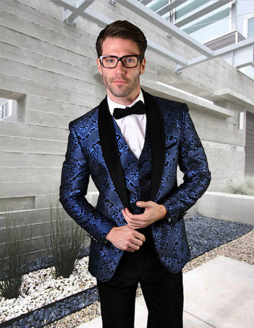 Mens Vested One Button Geometric Print Prom Tuxedo in Royal Blue