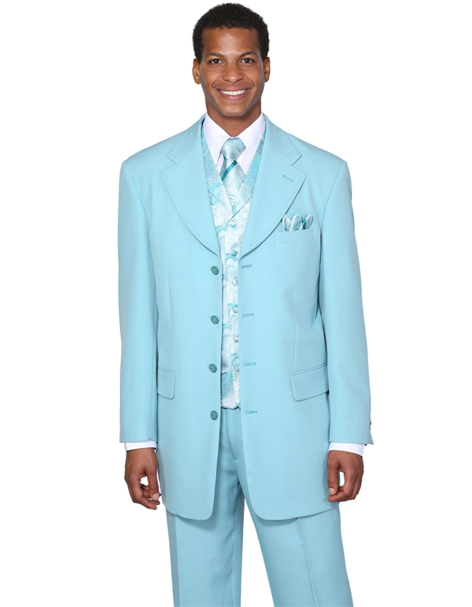 Mens 4 Button Wide Notch Lapel Fashion Zoot Suit in Aqua Blue