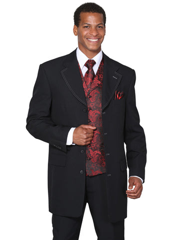 Mens 4 Button Wide Notch Lapel Fashion Zoot Suit in Black & Red