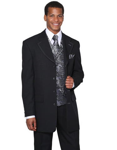Mens 4 Button Wide Notch Lapel Fashion Zoot Suit in Black