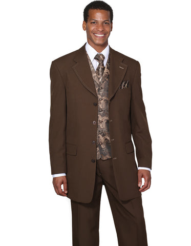 Mens 4 Button Wide Notch Lapel Fashion Zoot Suit in Brown