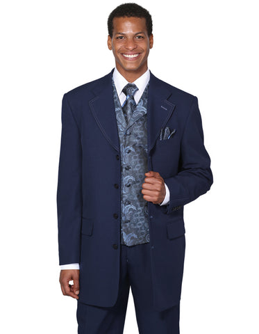 Mens 4 Button Wide Notch Lapel Fashion Zoot Suit in Navy