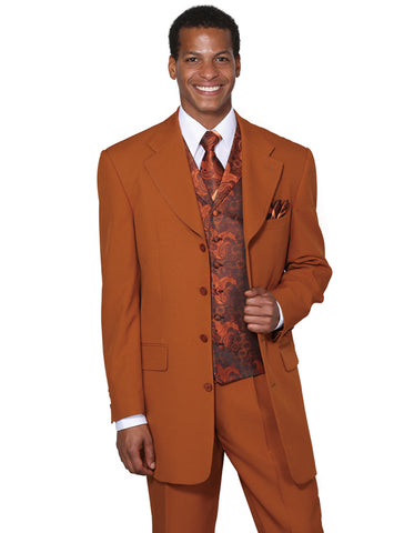 Mens 4 Button Wide Notch Lapel Fashion Zoot Suit in Rust