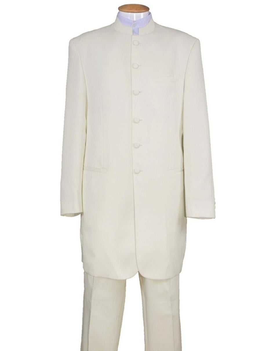 Mens 6 Button Long Style Mandarin Collar tuxedo in Cream