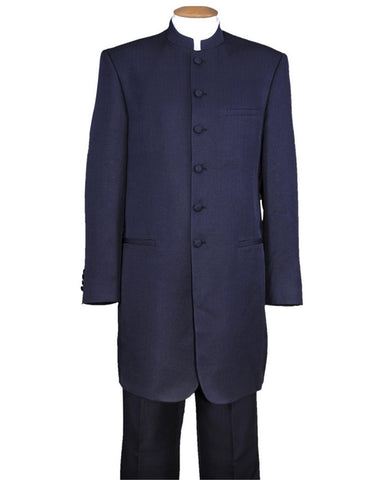 Mens 6 Button Long Style Mandarin Collar tuxedo in Navy