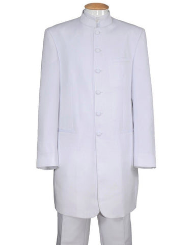 Mens 6 Button Long Style Mandarin Collar tuxedo in White