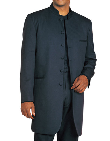 Mens 6 Button Long Style Mandarin Collar tuxedo in Black