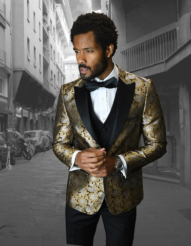 Mens Vested One Button Peak Lapel Shiny Floral Tuxedo in Gold