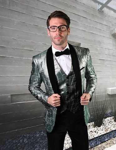 Mens One Button Organic Print Shiny Tuxedo in Green