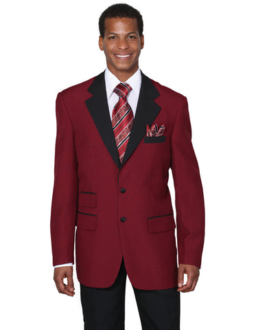 Mens 2 Button Black Lapel Tuxedo in Burgundy
