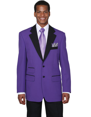 Mens 2 Button Black Lapel Prom Tuxedo in Purple