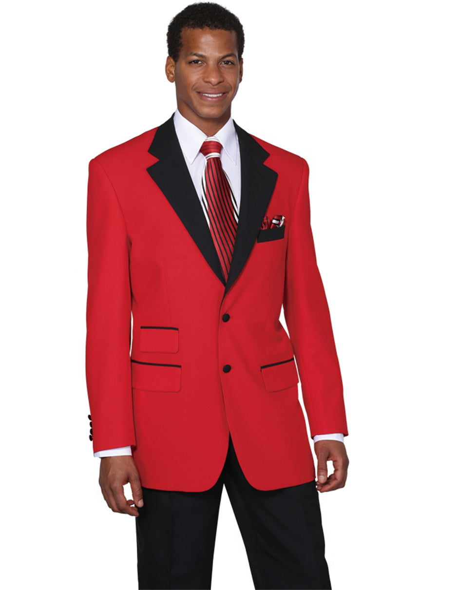 Mens 2 Button Black Lapel Tuxedo in Red