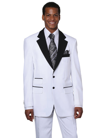 Mens 2 Button Black Lapel Prom Tuxedo in White