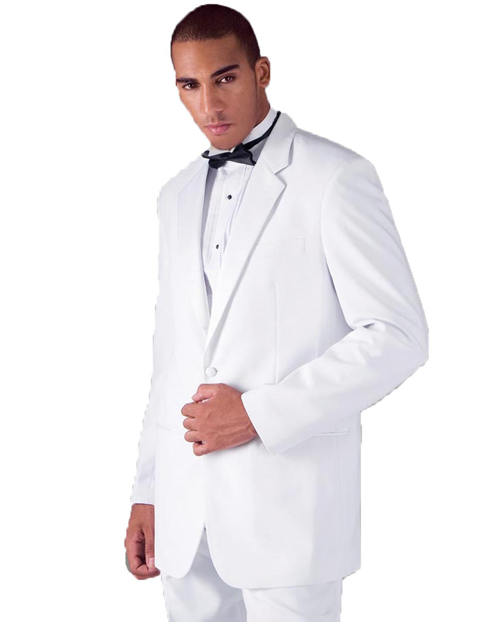 Mens Traditional 2 Button Polyester Tuxedo in White