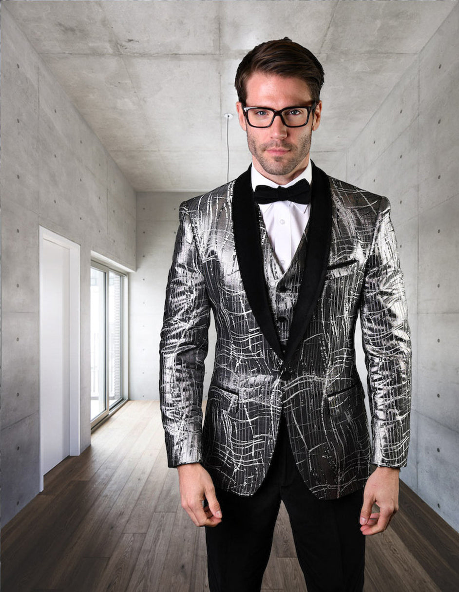 Mens One Button Organic Print Shiny Prom Tuxedo in Silver Grey