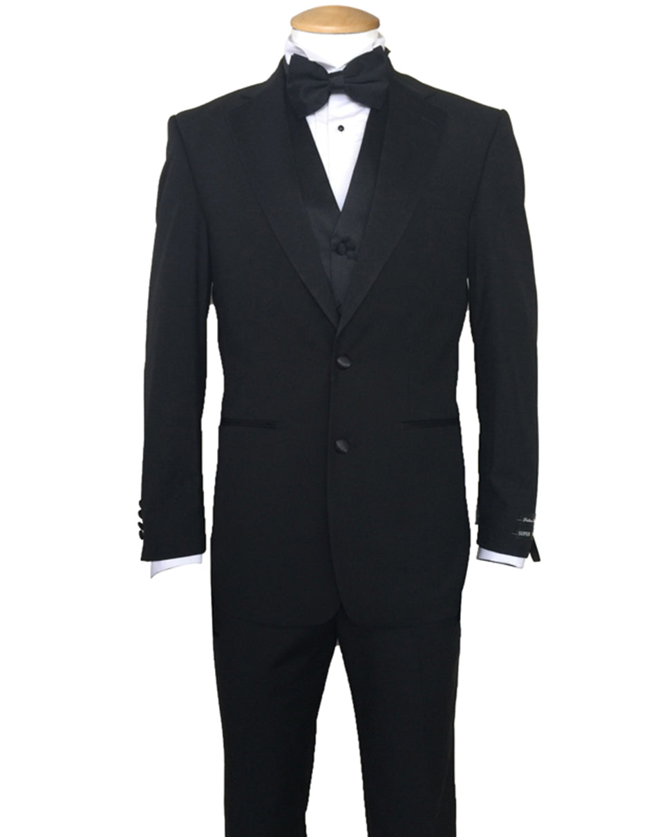 Mens Vested Traditional 2 Button Polyester Tuxedo in Black