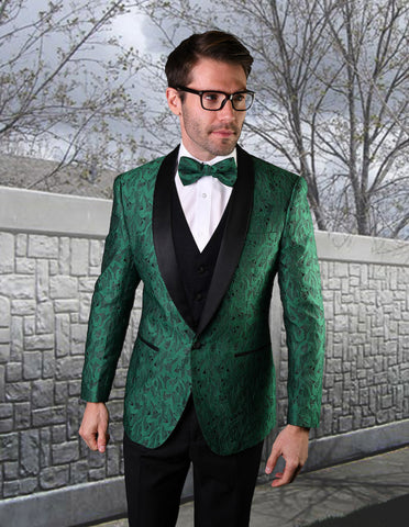 Mens Vested Geometric Leaf Pattern Tuxedo in Hunter Green