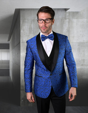 Mens Vested Geometric Leaf Pattern Tuxedo in Royal Blue