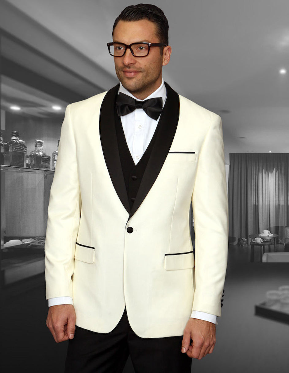 Mens Wool Ivory Dinner Jacket Tuxedo with Black Pants & Vest
